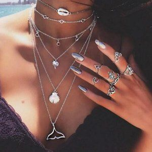 Jewelry - ❤️  Beach Necklace Multilayer Mermaid Tail Pendant